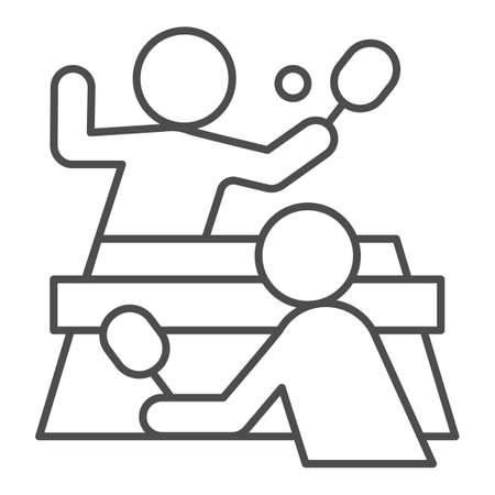 Table tennis and players thin line icon, sport concept,  match sign on white background, People playing table tennis icon in outline style for mobile and web design. Vector graphics.