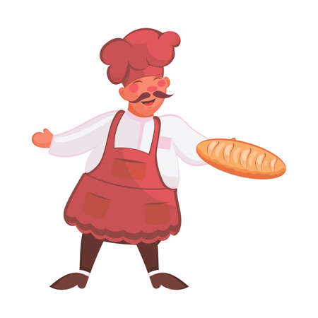 Baker in apron and chef hat with bread in hand on white background. Bakery concept. Cook in red uniform with loaf of bread. Vector illustration in flat design isolated on white background. Çizim