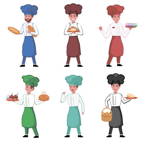 Bakers characters set on white background. Bakery concept. Cooks in uniform with baked goods in hands. illustration of men in apron and chef hat in flat design isolated on white background. Archivio Fotografico - 154108712