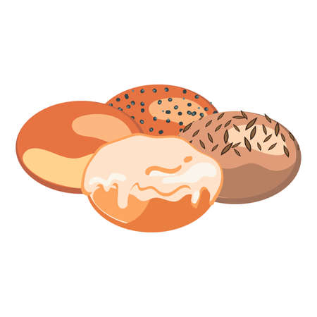 Set of round bun with different toppings on white background. Bakery concept. Vector illustration of bun without anything, with poppy seeds, with sunflower seeds and with glaze in flat design.