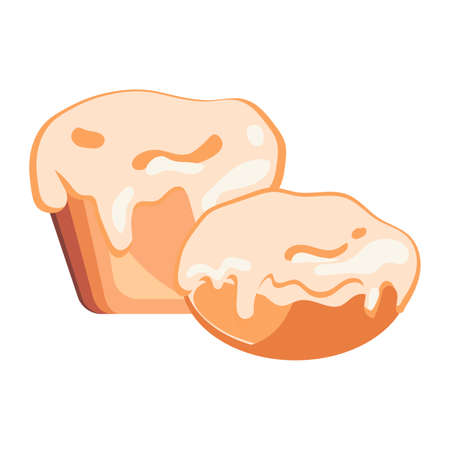 Two buns of different shapes with glaze on white background. Bakery concept. Fresh bakery product concept. Vector illustration of cake in flat design. Illustration of bun on white background.