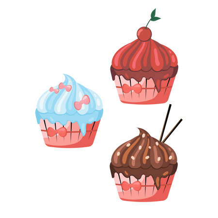 Three cupcakes with blue, red and chocolate cream on white background. Confection concept. Vector illustration of muffin in flat design. Illustration of cupcake toppers isolated on white background.