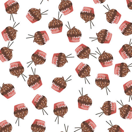 Background with cupcake with chocolate cream and chocolate sticks on white background. Cute repeated texture menu. Muffin pattern. Sweets concept. Design for packaging, brochure. Vector illustration.