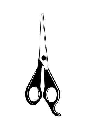Scissors hairdresser icon on white background. Hair care concept. Hairdressing tools concept. Professional hair styling tool. Vector illustration of hair cutting scissors in flat style.
