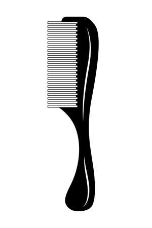 Comb with handle icon on white background. Hair care concept. Hairdressing tools concept. Professional hair styling tool. illustration of crest in flat style.