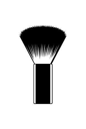 Shaving brush icon on white background. Brush to apply shaving cream. Hairdressing tools concept. Vector illustration of beard shaving brush in flat style. Archivio Fotografico - 153901694