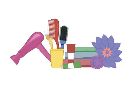 Set of hairdressing tools on white background. Kit of hair dryer, hair dye tubes, towels, dye brush and combs in the stand decorated with flowers. Vector illustration. Hair styling tool concept.