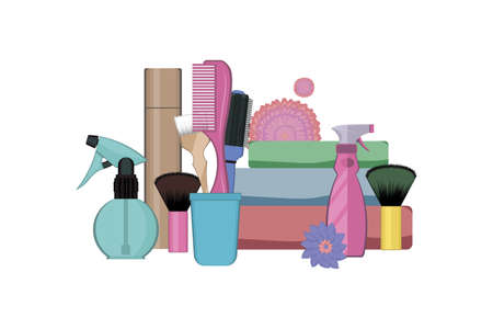 Set of hairdressing tools on white background. Kit of bottle spray, hair dye tubes, towels, dye brush and combs in the stand decorated with flowers. Vector illustration. Hair styling tool concept. Archivio Fotografico - 153902020