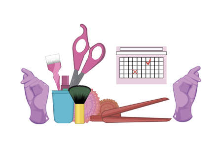Set of hairdressing tools on white background. Kit of gloves, dye brush, scissors and lipstick in the stand, hair straightener decorated with flowers. Vector illustration. Beauty salon concept. Archivio Fotografico - 153901893