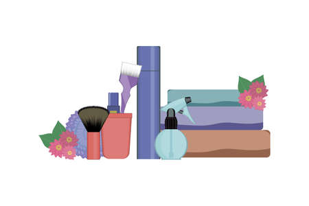 Set of hairdressing tools on white background. Kit of bottle spray , towels, dye brush and lipstick in the stand, hair spray fixation decorated with flowers. Vector illustration. Beauty salon concept. Çizim