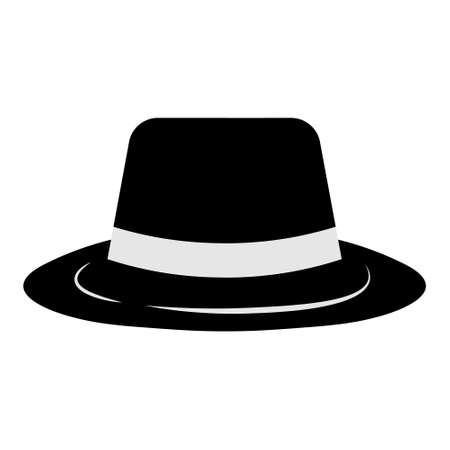 Gangster hat icon on white background. Borsalino or fedora in flat style. Mafia and detective concept. illustration of black hat with white ribbon. Archivio Fotografico - 154108776