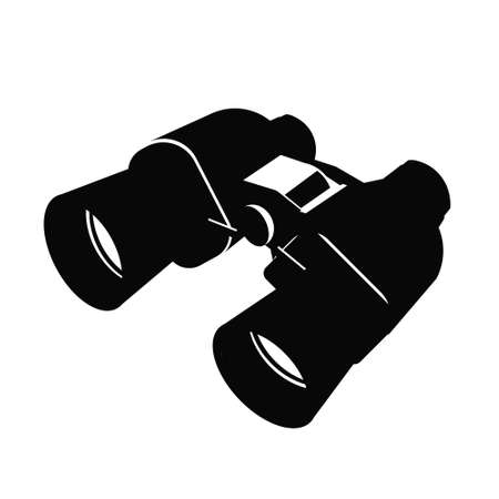 Black binocular icon isolated on white background. illustration of classic binoculars with clear lenses. Exploration of the world concept. Surveillance and espionage concept. Çizim