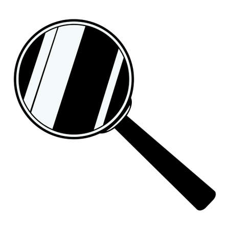 Magnifying glass icon isolated on white background. illustration of loupe. Tool for enlarging and observing small objects. Magnifier in flat design. Çizim