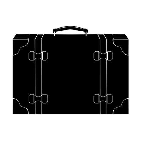 Retro suitcase icon isolated on white background. Old suitcases in flat style. Large trunk or suitcase opening into two equal parts. Vector illustration. Trip concept.