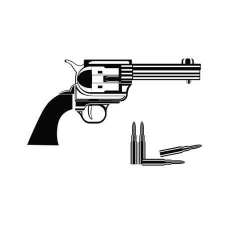 Revolver with sleeve icon isolated on white background. illustration of retro gun. Wild west concept. Cowboy weapon concept. Çizim