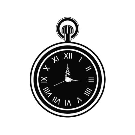 Vintage pocket watch icon isolated on white background. Old clock face with roman numerals. Vector illustration of clock in flat style. Antiques concept.