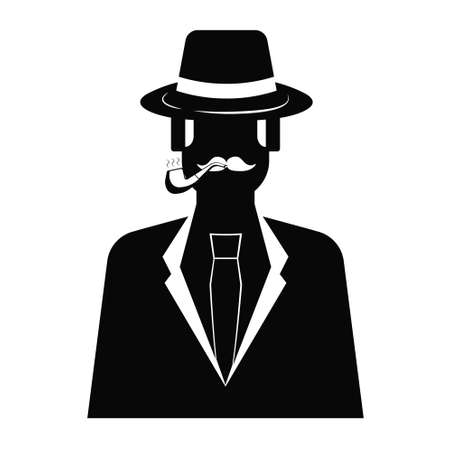 Detective with smoking pipe icon on white background. illustration of man with a mustache wearing a hat and cloak. Detective in flat style. Çizim