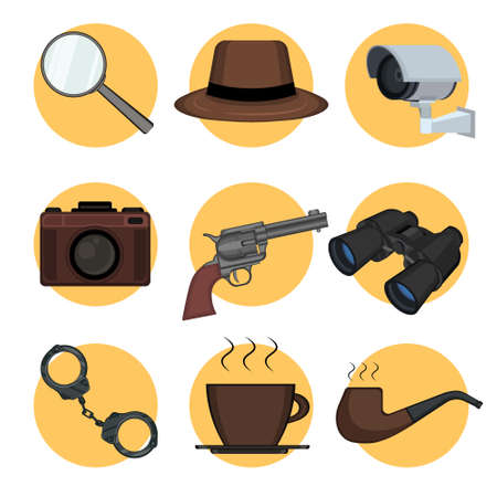 Detective set elements on yellow circles. Kit includes magnifying glass, binoculars, gun, hat, pipe, handcuffs, photo camera, cup of coffee, videcam. Tracking and investigation concept. Vector.