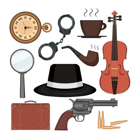 Detective set elements on white background. Kit includes magnifying glass, gun with sleeve, hat, pipe, handcuffs, photo camera, cup of coffee, pocket watch, suitcase, violin. Vector illustration.