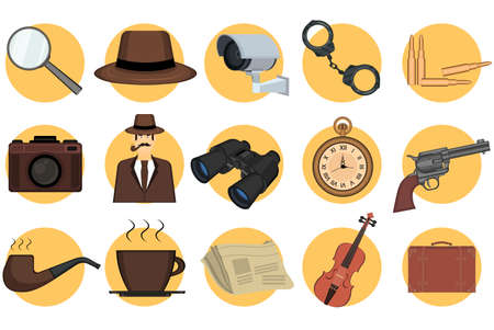 Detective set elements on yellow circles. Kit includes detective magnifying glass, binoculars, gun, hat, pipe, handcuffs, photo camera and other investigation tools. Detective story concept. Vector. Çizim