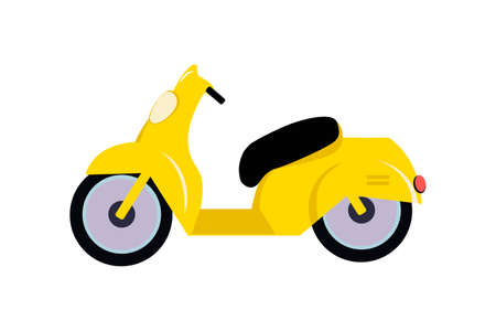 Yellow bike isolated on white background. Economical and ecological city transport concept. Side view. illustration on white background. 版權商用圖片 - 154108858