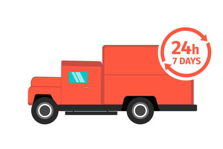 Red delivery truck on white background. Delivery around the clock, 24 hours 7 days a week. Delivery service concept. Vector illustration. Archivio Fotografico - 153901877