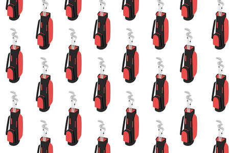 Red and black golf bag with clubs pattern on white background. Golfer sports equipment pattern Illustration. Golf equipment, branding package, fabric print, wallpaper. Çizim