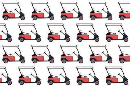 Red colored golf cart pattern on a white background. Electric golf car pattern. illustration. Golf equipment, branding package, fabric print, wallpaper. 版權商用圖片 - 154108884