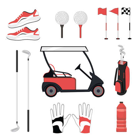 Set of golf equipment isolated on white background. Collection includes clubs, balls, tees, glove, shoes, bottle,car. Clothes and accessories for golfing, sport game