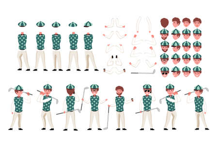 Golfer character constructor. Man golfer creation set. Different equipment, postures, emotions, body parts and clothes collection. cartoon illustration. Front, side, back view.