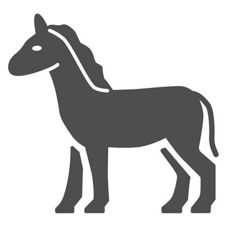 Horse solid icon, Farm animals concept, stallion sign on white background, standing elegance horse silhouette icon in glyph style for mobile concept and web design. Vector graphics.