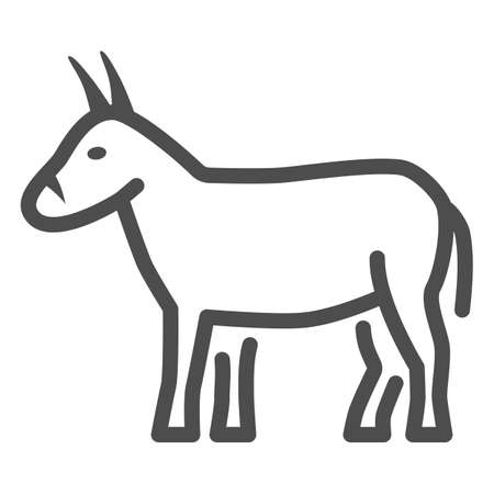 Donkey line icon, Farm animals concept, mule sign on white background, Donkey silhouette icon in outline style for mobile concept and web design. Vector graphics.