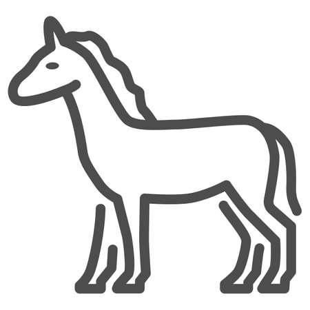 Horse line icon, Farm animals concept, stallion sign on white background, standing elegance horse silhouette icon in outline style for mobile concept and web design. Vector graphics.