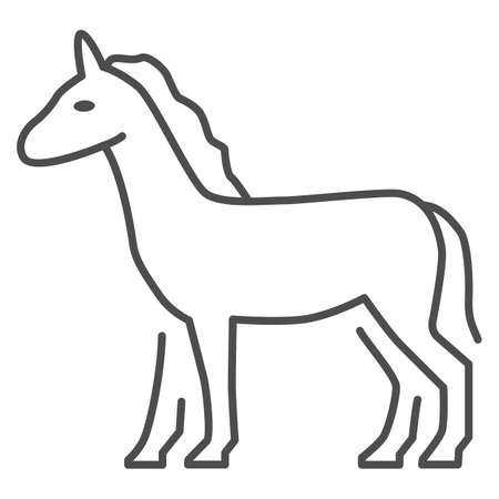 Horse thin line icon, Farm animals concept, stallion sign on white background, standing elegance horse silhouette icon in outline style for mobile concept and web design. Vector graphics.