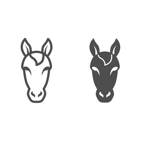Horse head line and solid icon, Farm animals concept, stallion symbol on white background, horse head silhouette icon in outline style for mobile concept and web design. Vector graphics.