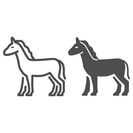 Horse line and solid icon, Farm animals concept, stallion sign on white background, standing elegance horse silhouette icon in outline style for mobile concept and web design. Vector graphics.