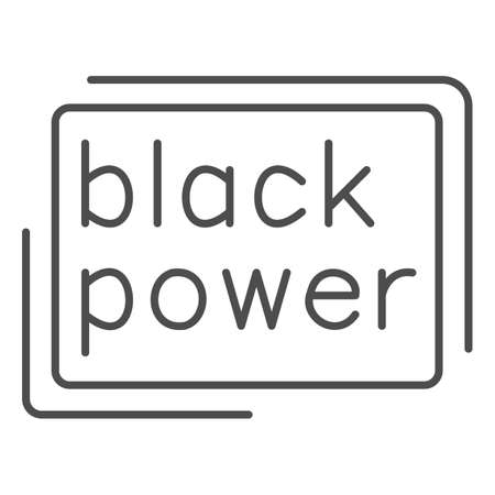 Black power poster thin line icon, Black lives matter concept, BLM protest poster sign on white background, BLM power and solidarity icon in outline style for mobile and web. Vector graphics Ilustração
