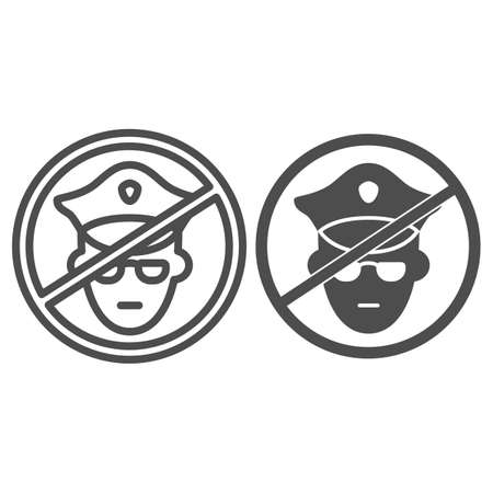No police line and solid icon, Black lives matter concept, Protest symbol about human right of black people sign on white background, no military officer icon in outline style. Vector graphics.