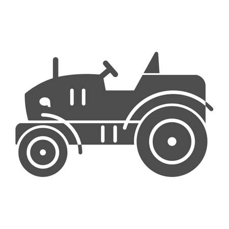 Mini tractor solid icon, Garden and gardening concept, farm cultivator sign on white background, silhouette of small compact tractor icon in glyph style for mobile and web. Vector graphics. 일러스트