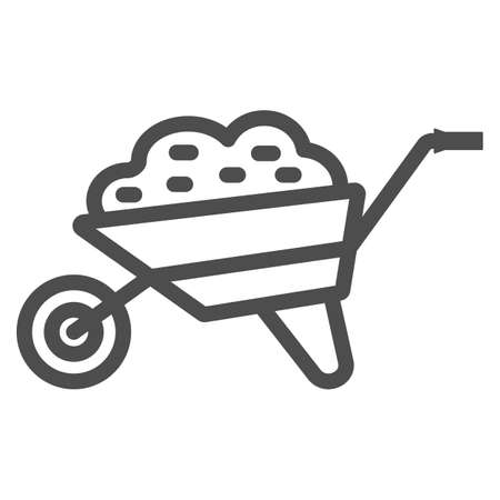 Garden cart line icon, Garden and gardening concept, Wheelbarrow cart sign on white background, trolley with ground icon in outline style for mobile concept and web design. Vector graphics.