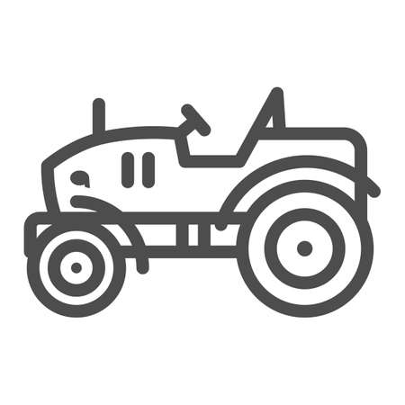 Mini tractor line icon, Garden and gardening concept, farm cultivator sign on white background, silhouette of small compact tractor icon in outline style for mobile and web. Vector graphics.