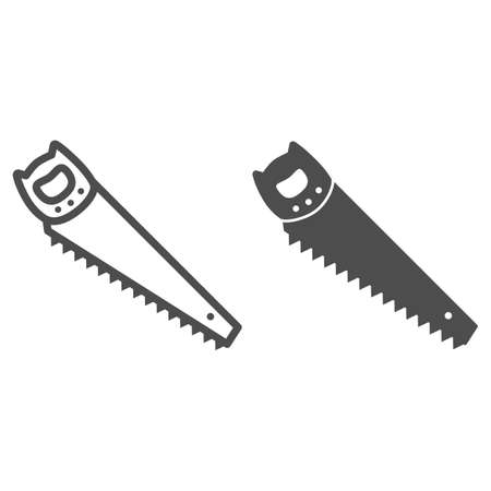 Hand saw line and solid icon, Garden and gardening concept, Hacksaw sign on white background, metal handsaw icon in outline style for mobile concept and web design. Vector graphics. Vector Illustration