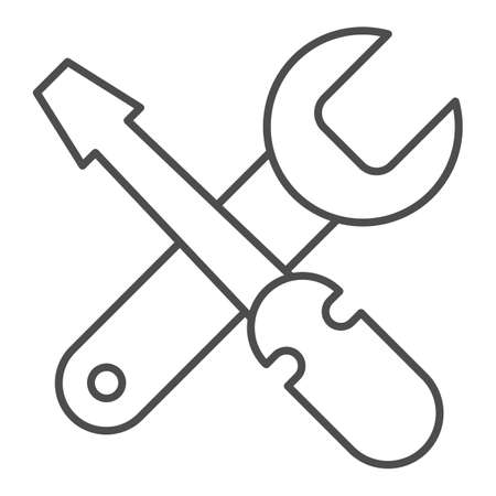 Screwdriver and wrench thin line icon, bicycle concept, repairing tools sign on white background, crossed screwdriver with spanner icon in outline style for mobile, web design. Vector graphics.