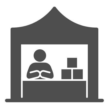 Kiosk with seller and goods solid icon, commerce concept, Marketplace tent with seller sign on white background, male seller at street market icon in glyph style. Vector graphics.