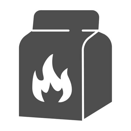 Charcoal bag solid icon, picnic concept, Barbecue coal bag sign on white background, Coal for fire in packing icon in glyph style for mobile concept and web design. Vector graphics.