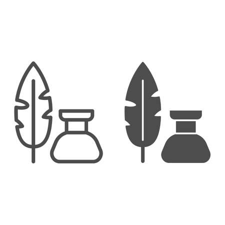 Pen and inkwell line and solid icon, Back to school concept, Inkstand with writing feather sign on white background, feather and ink bottle icon in outline style for mobile and web. Vector graphics.