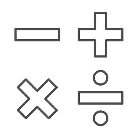 Add, subtract, divide, multiply symbols thin line, Education concept, Math calculate sign on white background, Basic math symbols plus, minus, multiplication and division in outline. Vector. Vettoriali