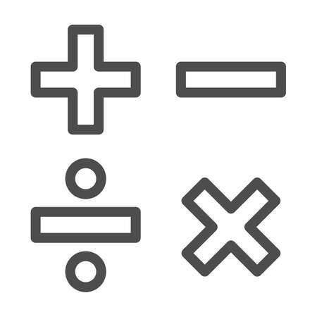 Add, subtract, divide, multiply symbols line, Education concept, Math calculate sign on white background, Basic math symbols plus, minus, multiplication and division in outline. Vector.