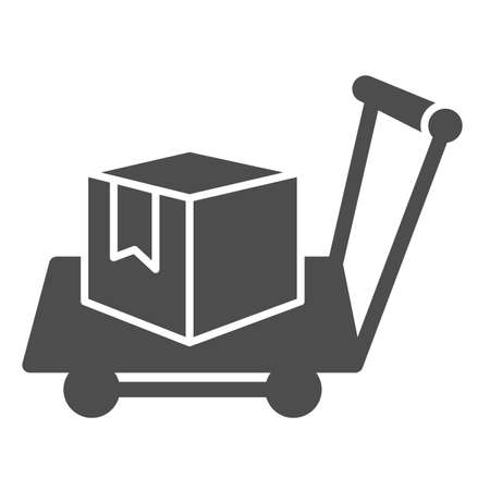Box on warehouse trolley solid icon, logistic concept, hand truck with box sign on white background, Delivery trolley icon in glyph style for mobile concept and web design. Vector graphics. Stock Illustratie
