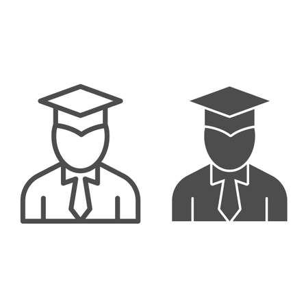 Student line and solid icon, Back to school concept, graduation student sign on white background, Person in graduation hat icon in outline style for mobile concept and web design. Vector graphics. Vectores
